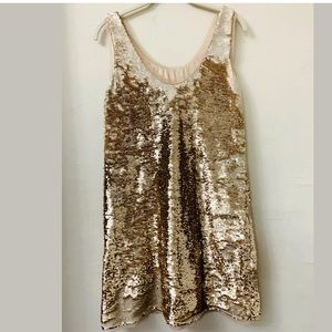 ZARA Rose Gold Sequined  Short Dress Size Small